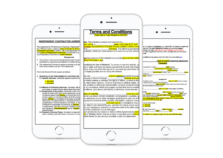 Legal templates, contract, and agreements mockup on iphone - The CEO Legal Loft
