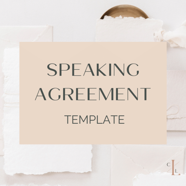 Preview of speaking agreement contract template by The CEO Legal Loft. Use the speaking agreement template for your events, conferences, or speaking business.