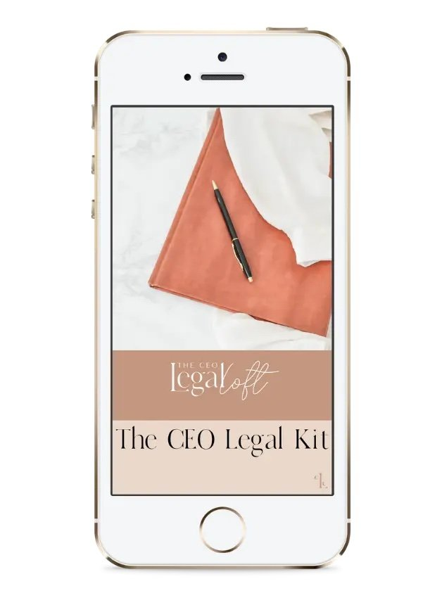 The CEO Legal Kit mockup on iphone - The CEO Legal Loft